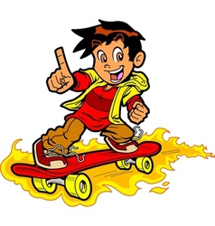 Skateboarder On Fire vector image