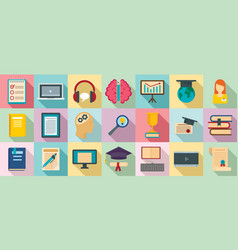 staff education icons set flat style vector image