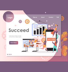Succeed website landing page design vector