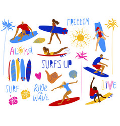 summer collection surfing design elements vector image