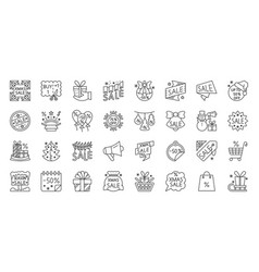 super sale deal simple black line icons set vector image