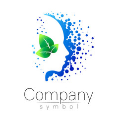 Symbol of human head and leaf profile face vector