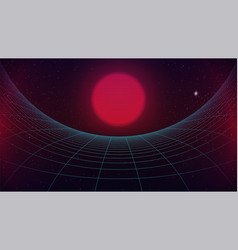 Synthwave background sci-fi sunset over curved vector