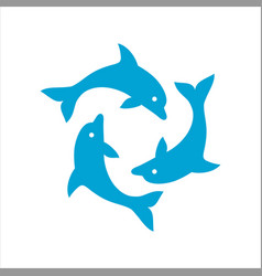 Three dolphins form a circle vector