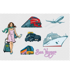 tourist transport set on isolated background vector image