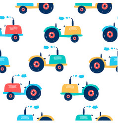 tractor seamless pattern print design vector image