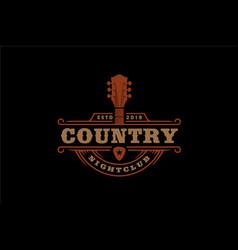 vintage guitar cowboy western country music logo vector image