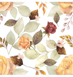 Watercolor autumn seamless pattern vector