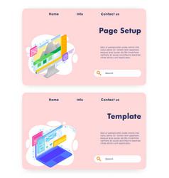 web page setup website landing page vector image