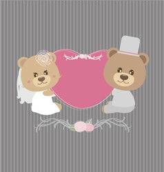 Wedding concept of couple teddy bear doll vector image