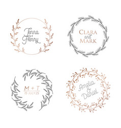 wedding floral wreaths circle botanical laurels vector image
