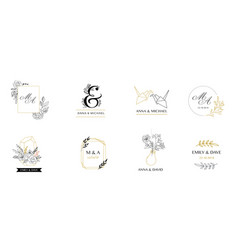 Wedding logos hand drawn elegant monogram vector