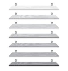 White blank wooden bookshelf set isolated on white vector image