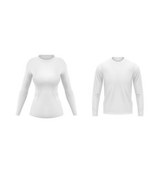 white shirts with long sleeves for men and women vector image