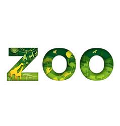 Wild zoo animals typography banner template zoo vector