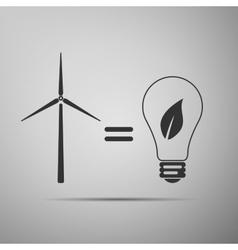 Wind turbine and bulb with leaves as idea of eco vector