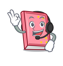 with headphone diary mascot cartoon style vector image