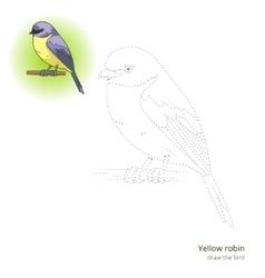Yellow robin bird learn to draw vector