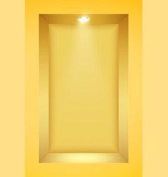 Yellow wall niche with spotlight vector