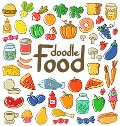 Colored food doodle vector image vector image