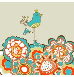 Floral garden and cute bird vector image