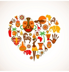 Heart with africa icons vector