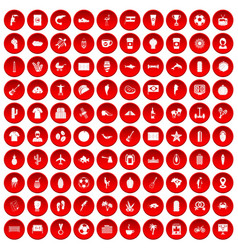 100 south america icons set red vector