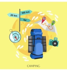 Camping tourism background Flat style design vector image vector image