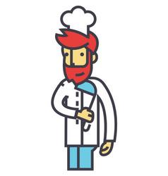 chef cooker restaurant kitchen concept line vector image vector image