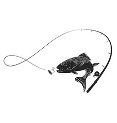 Fish and fishing rod silhouette vector