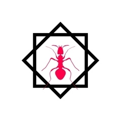 Red silhouette of ant logo design vector image vector image