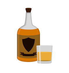 rum bottle with glass shot alcohol drink flat vector image