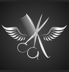 scissors and comb with wings silhouette vector image
