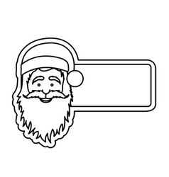 silhouette banner with face cartoon santa claus vector image