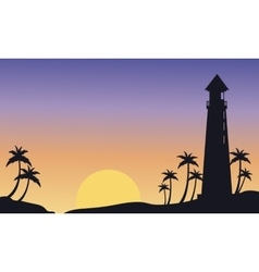 Silhouette of big lighthouse at sunset vector image vector image