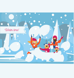 happy family playing with snow fort vector image vector image