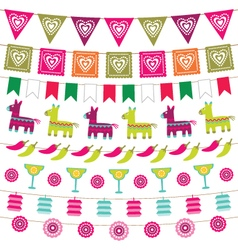 Mexican party bunting flags set vector image vector image