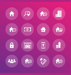 real estate icons set apartments houses vector image