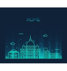 Rome city skyline detailed line art style vector