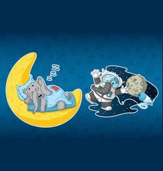 stickers elephants sleeps on the moon astronaut vector image vector image