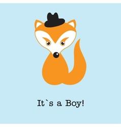 Baby boy fox arrival announcement birth card vector image