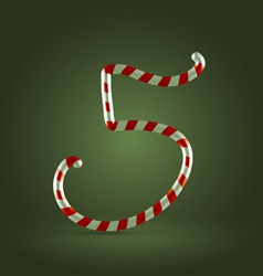 Candy cane abc 5 vector image vector image