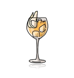 Cocktail with pear sketch for your design vector image