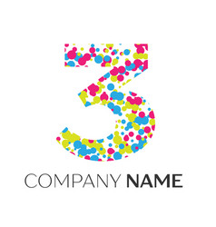 number three logo with blue yellow red particles vector image