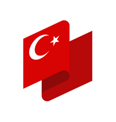 turkey flag ribbon isolated turkish tape banner vector image vector image