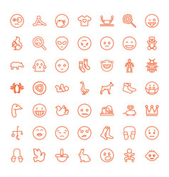 49 cute icons vector image