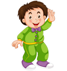 A boy wearing pajamas vector