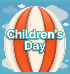 Air balloon children day concept background vector