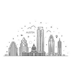 Austin architecture line skyline vector