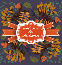 autumn seamless pattern with frame vector image